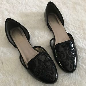 Black Embroidered Flats